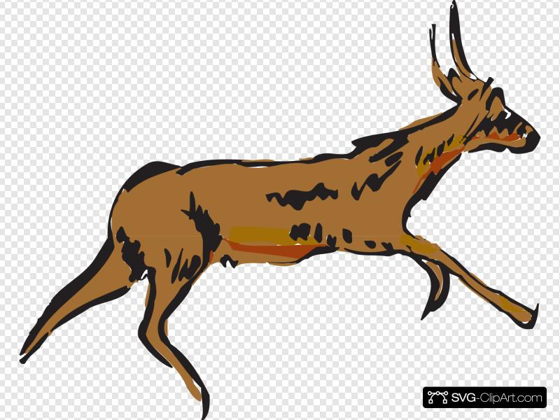 Running Antelope Clip art, Icon and SVG.