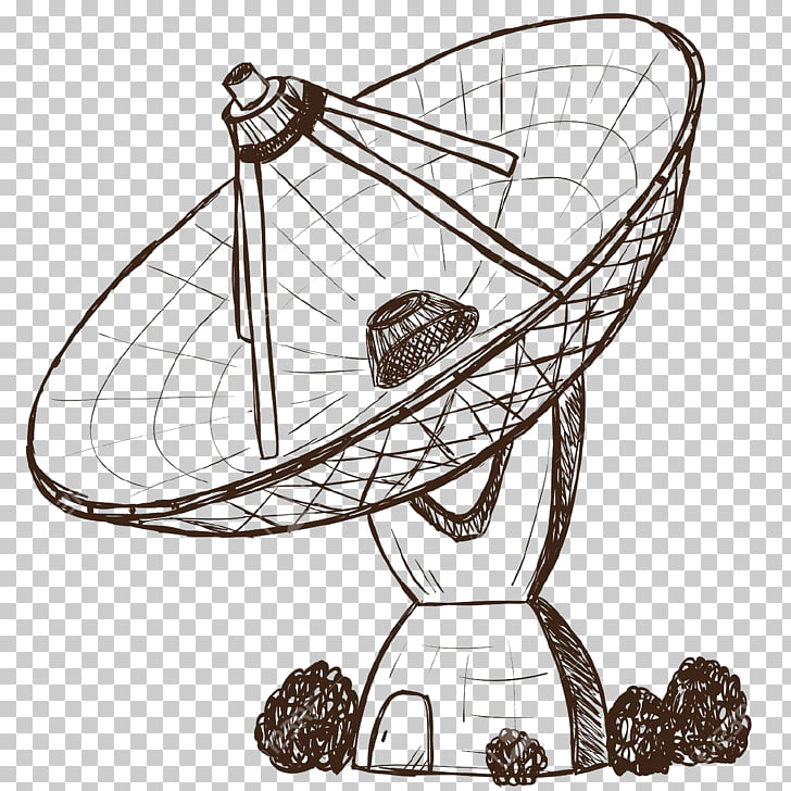 Drawing Satellite dish, antenna PNG clipart.