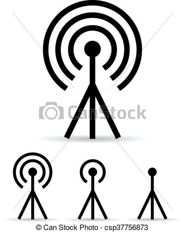 Internet signal antenna icon.