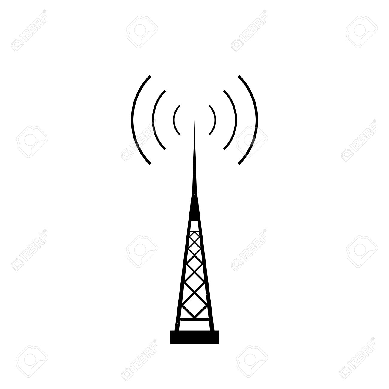 Broadcasting Antenna With Signal Waves On White Background. Vector.
