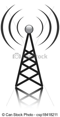 Vector Clip Art of Antenna mast sign on white csp18418211.