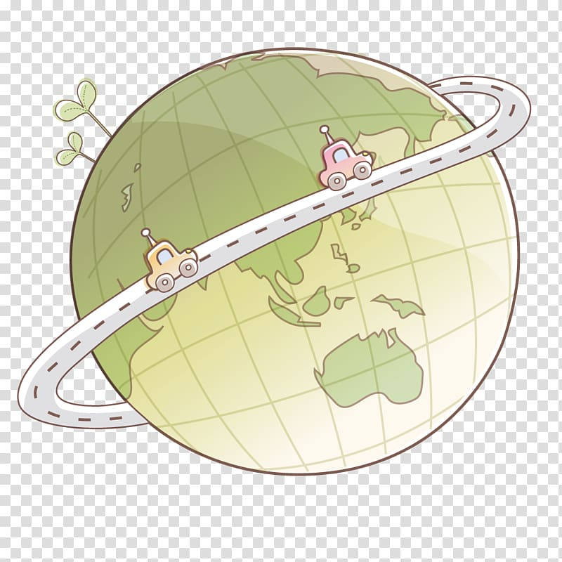 Earth Computer file, Around the globe transparent background.