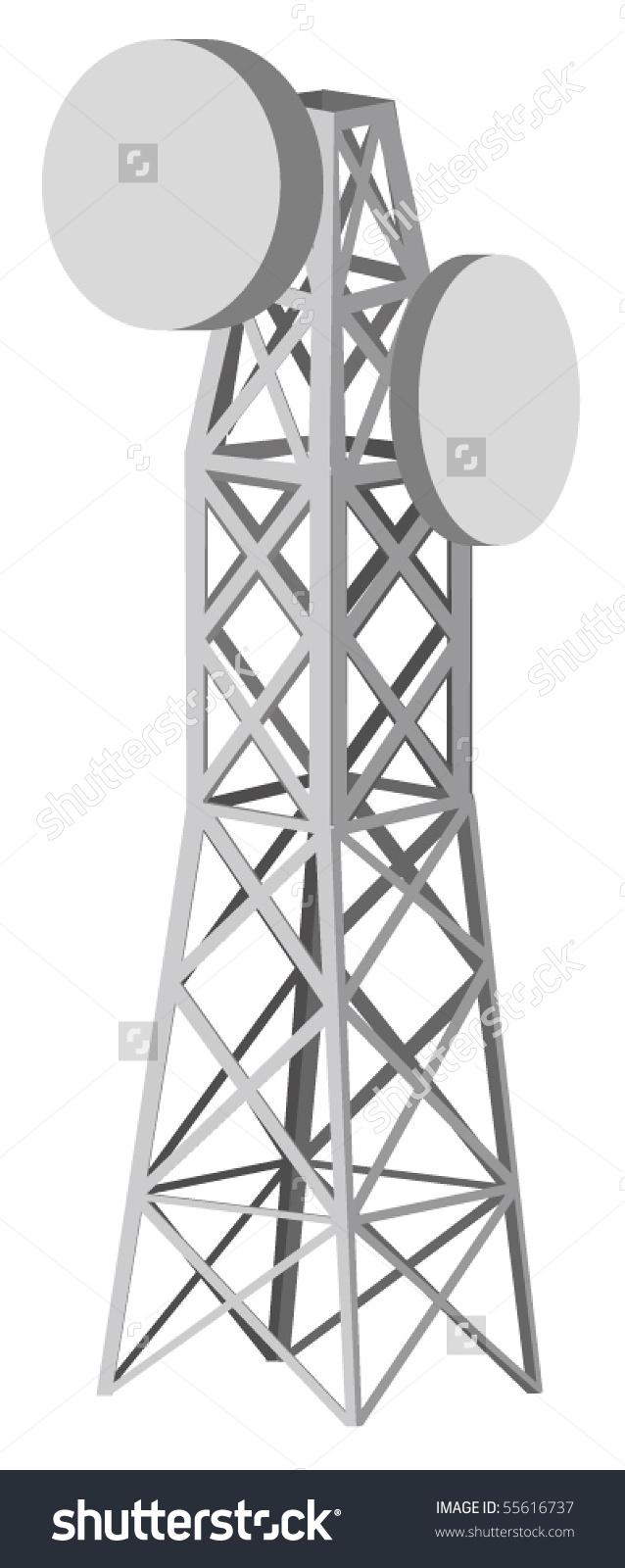 Vector Illustration Antenna Tower Stock Vector 55616737.