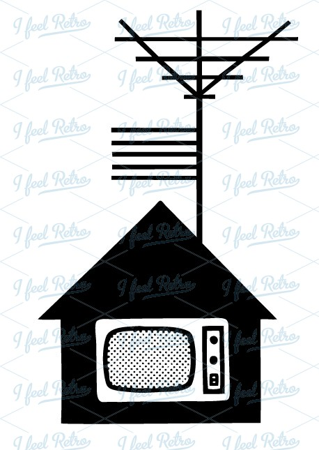 Retro Clipart: TV house with antenna.