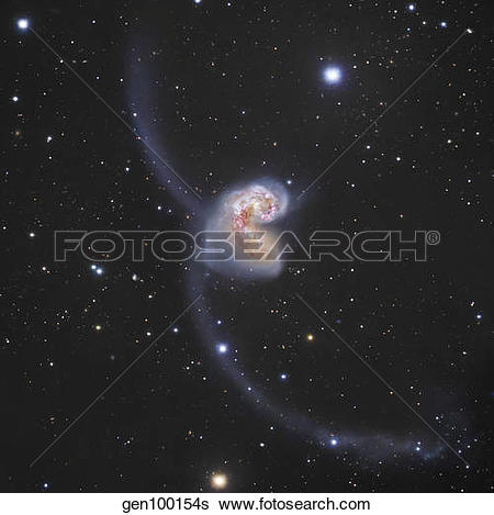 Stock Images of The Antennae Galaxies in the constellation Corvus.