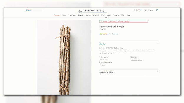 Anthropologie 'sold out' of $42 bundle of sticks.