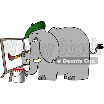 Elephant Painter Painting a Picture On Canvas Clipart © Dennis Cox.