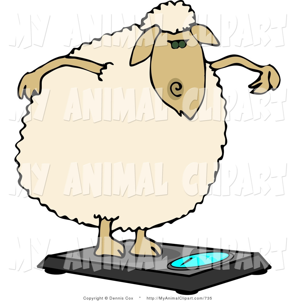 Clip Art of an Anthropomorphic Fat Wooly Sheep Weighing Itself on.