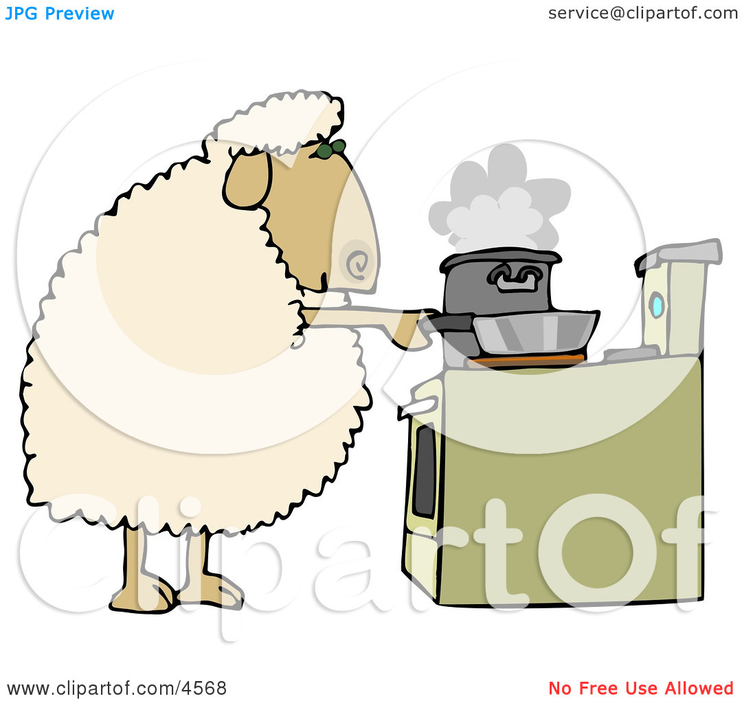 Anthropomorphic Sheep Cooking Food in Pots On a Stove Clipart by.