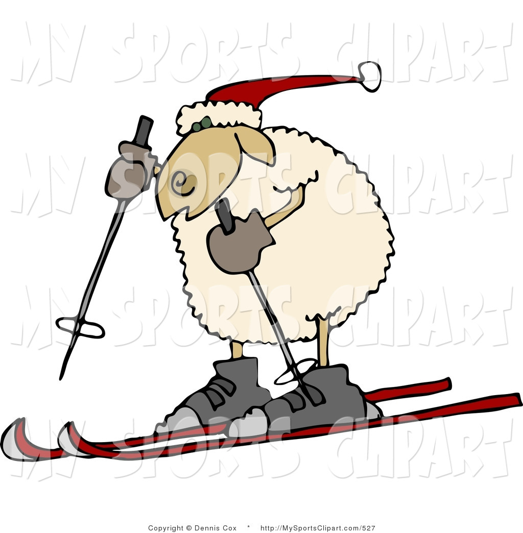 Sports Clip Art of an Anthropomorphic Sheep in a Winter Hat Snow.