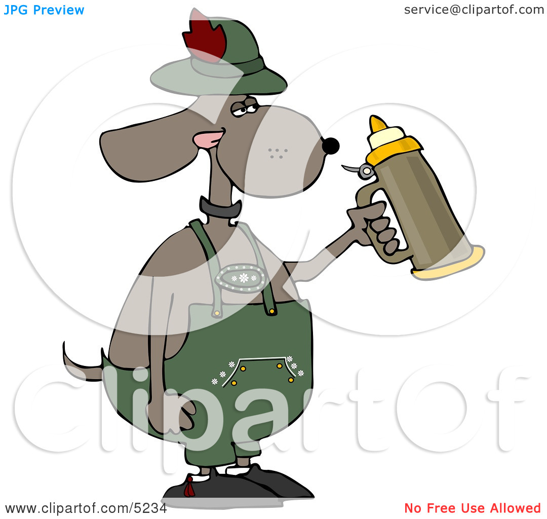 Humorous Anthropomorphic Dog Holding a Beer Stein While.