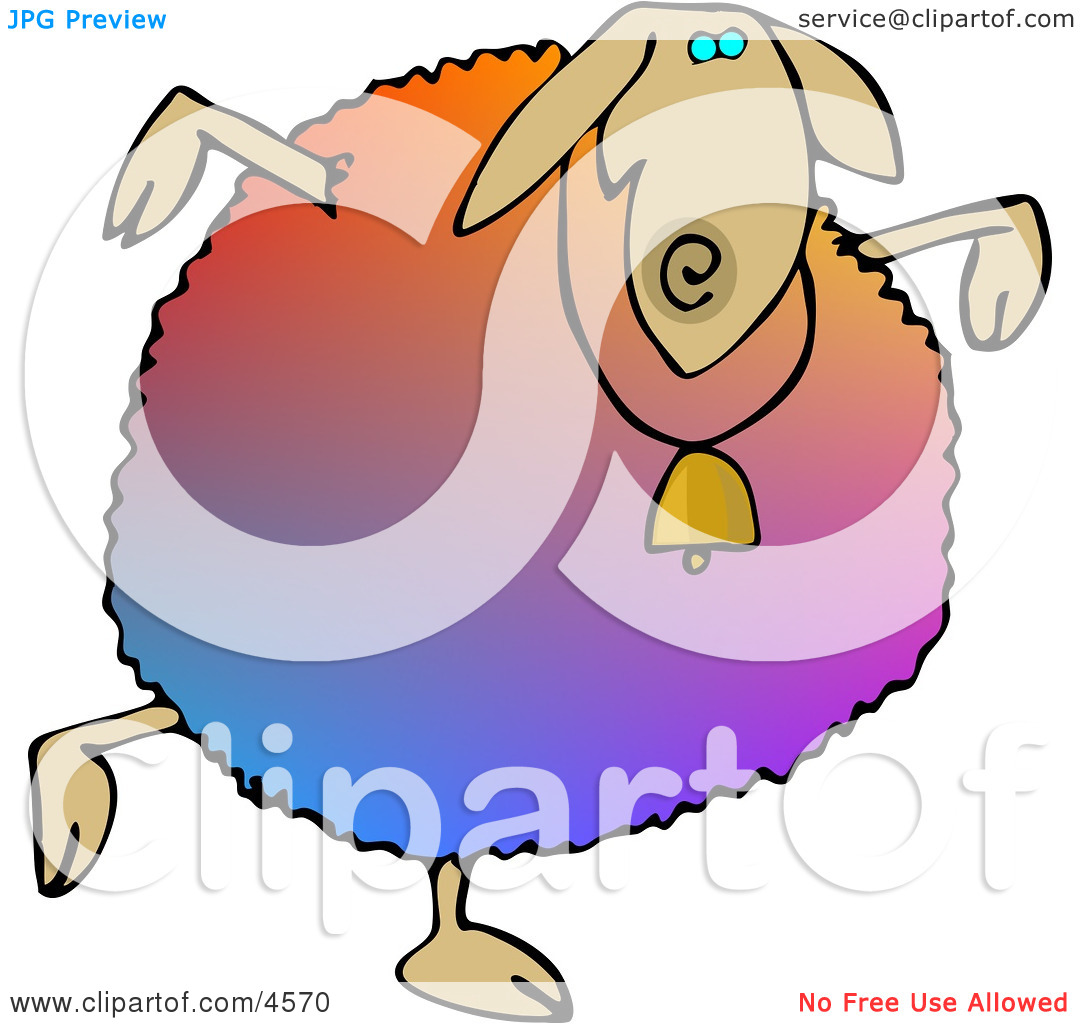 Colorful Anthropomorphic Sheep Dancing Clipart by Dennis Cox #4570.