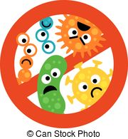 Clip Art Vector of Antibacterial icons with germ. Bacteria kill.