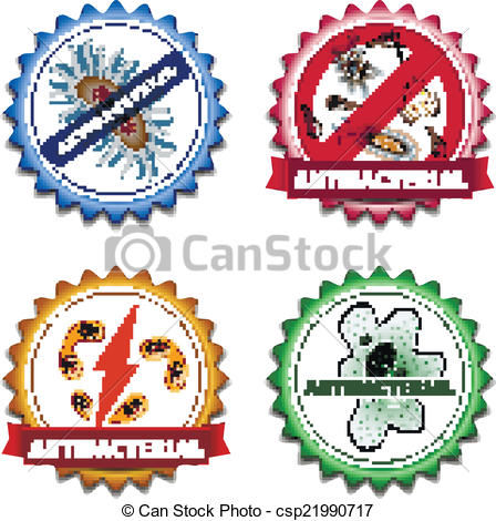 Vector Clip Art of Antibacterial badges set.