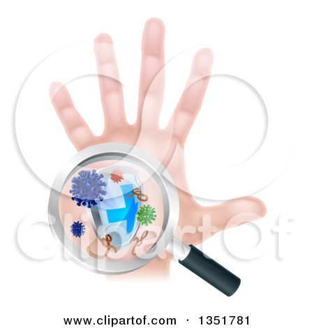 Clipart of a Caucasian Antibacterial Hand with Germs, a Shield and.