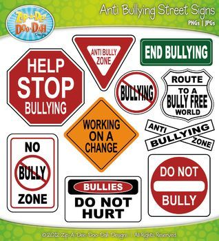 Anti Bullying Street Signs Clipart {Zip.