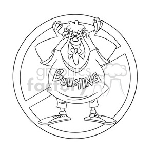 anti bullying campaign black and white clipart. Royalty.
