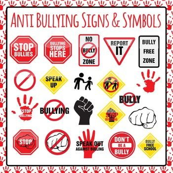 Anti Bullying Signs Symbols and Icons Clip Art Pack for Commercial.
