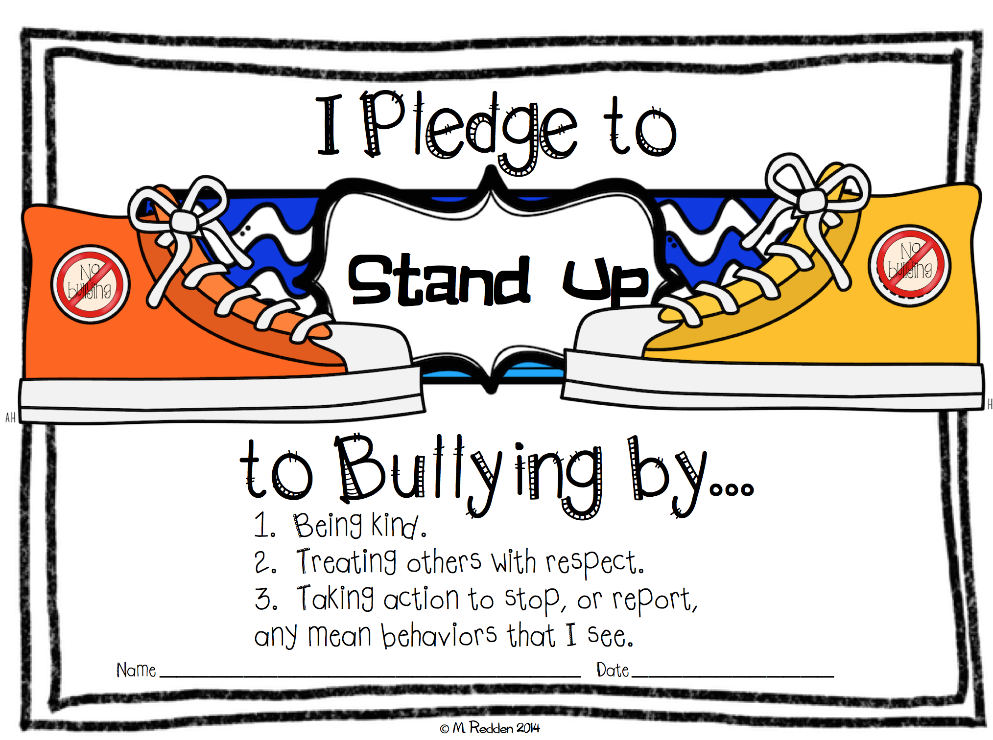 Stand Up to Bullying Pledge FREEBIE.