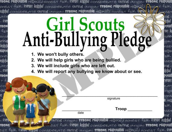 Girl Scouts Anti Bullying Pledge.
