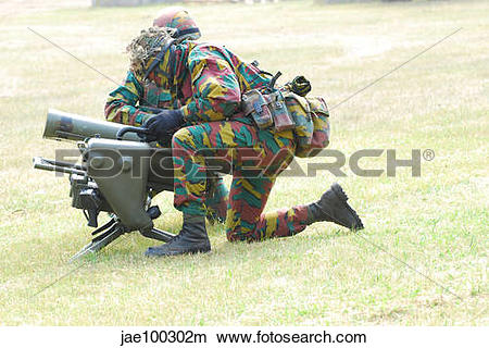 Stock Photo of Belgian soldiers setting up the Milan guided anti.