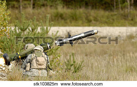 Stock Photo of U.S. Army soldiers firing an FGM.