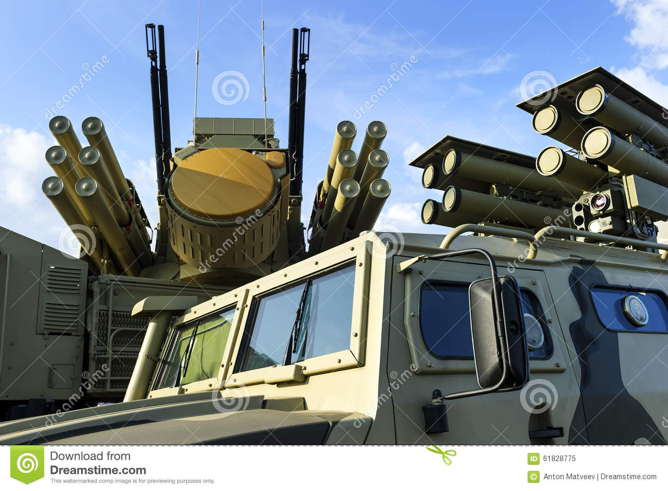 Military Vehicles With Missiles Stock Photo.