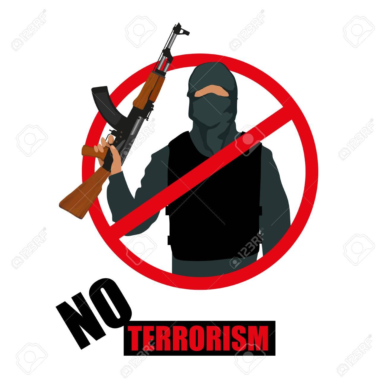 Terrorist with weapon. Stop terrorism. Terrorism concept. Vector...