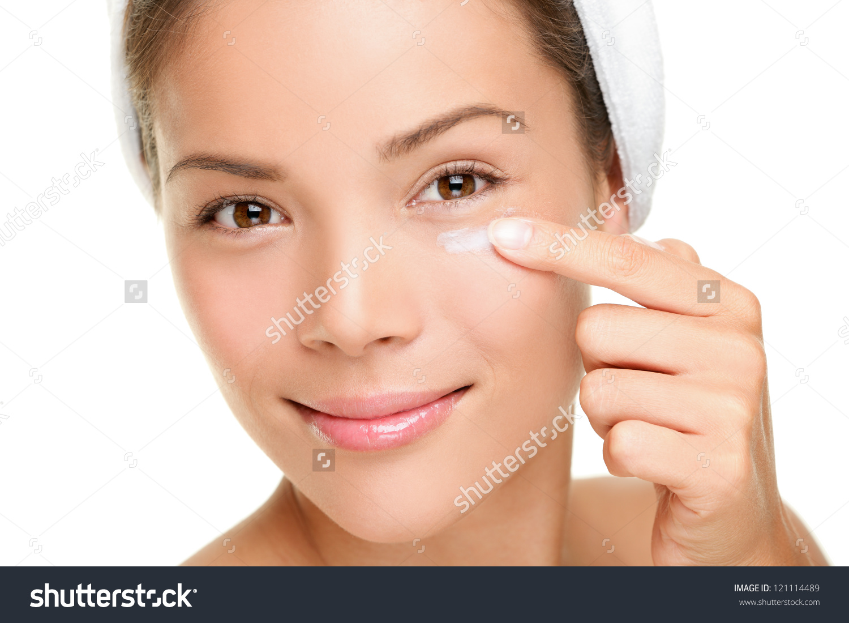 Face Cream Woman Applying Skin Cream Stock Photo 121114489.