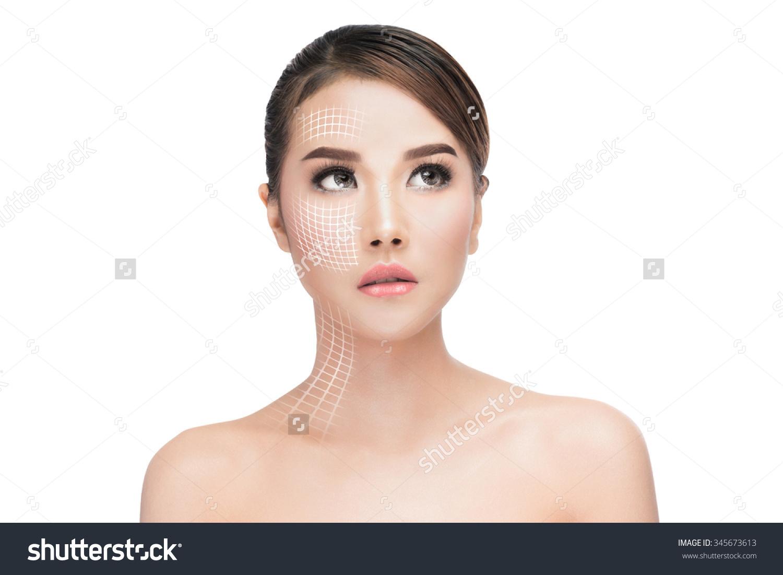 Face Lift Antiaging Treatment Portraitasian Woman Stock Photo.