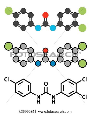 Clipart of Triclocarban antibacterial agent molecule. Often used.