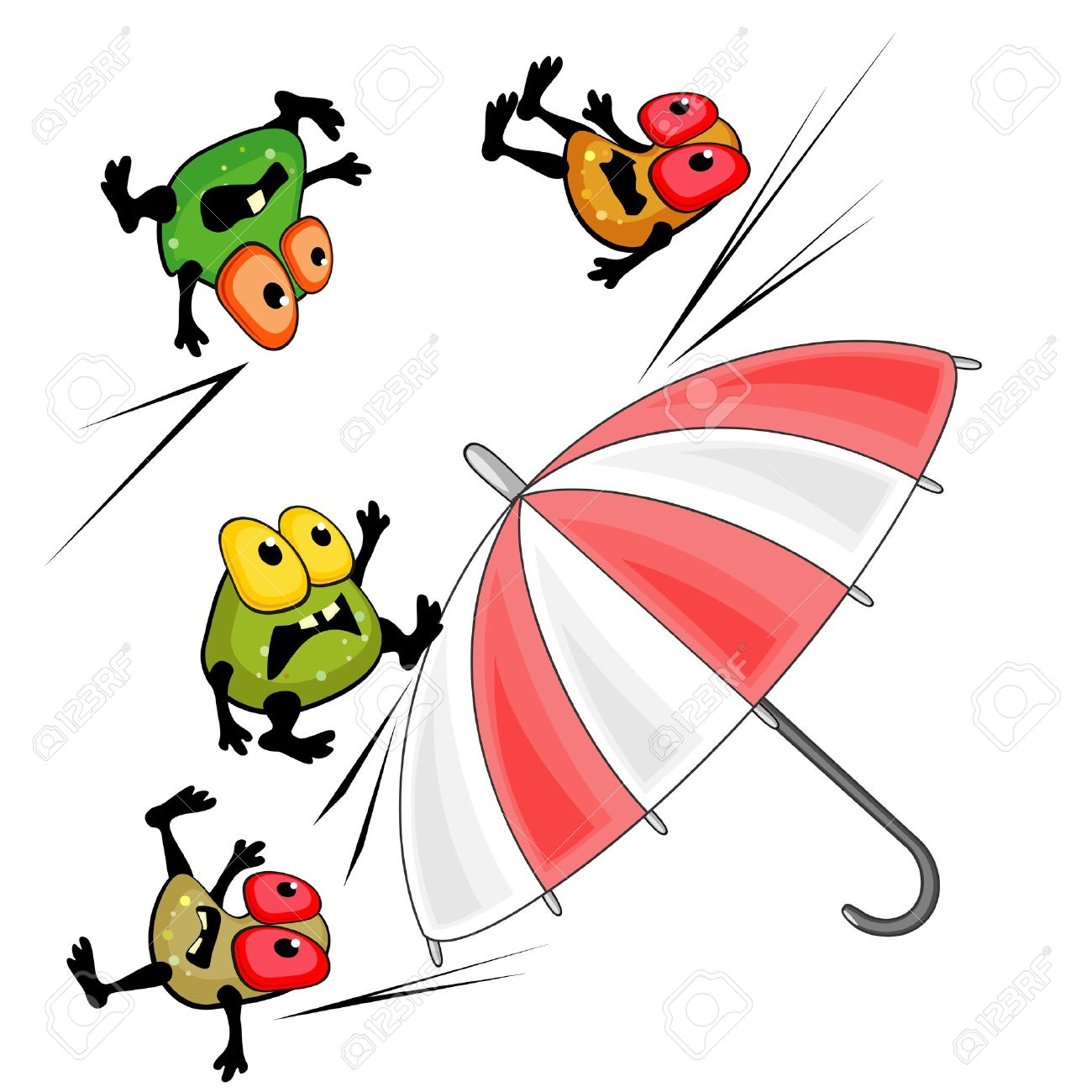 Bright Umbrella And Germs As Concept Of Antibacterial Action.