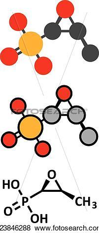 Clip Art of Fosfomycin (phosphomycin, phosphonomycin.