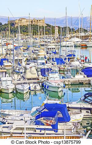 Stock Illustration of Yachts and boats in the port of Antibes.
