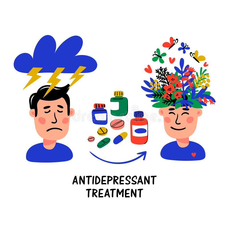 Antidepressant Stock Illustrations.