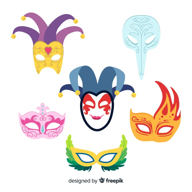 Hand drawn carnival mask collection Vector.