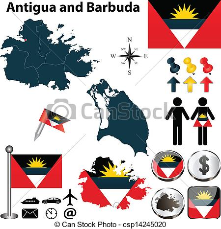 Vector Illustration of Map of Antigua and Barbuda.