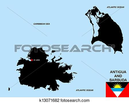 Antigua and barbuda map clipart.