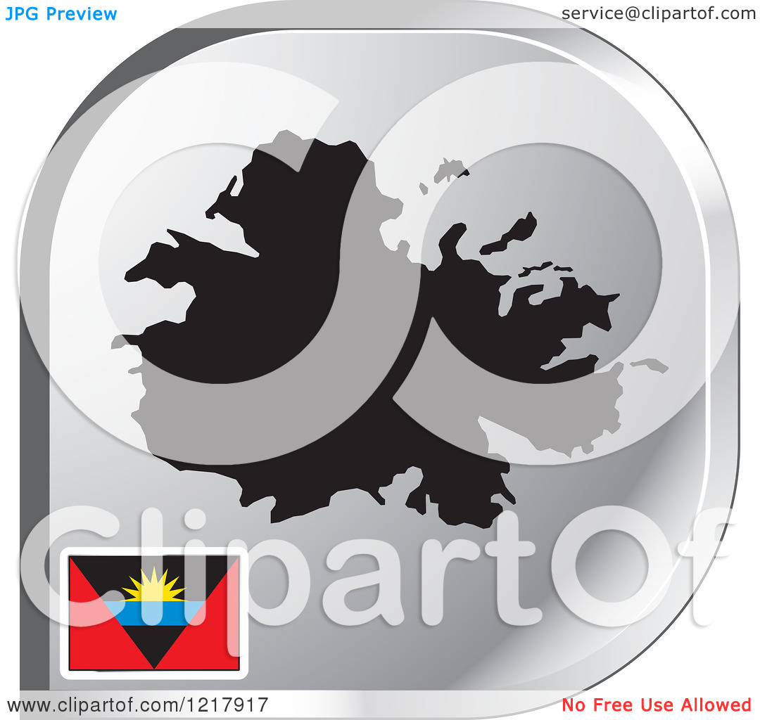 Clipart of a Silver Antigua Map and Flag Icon.