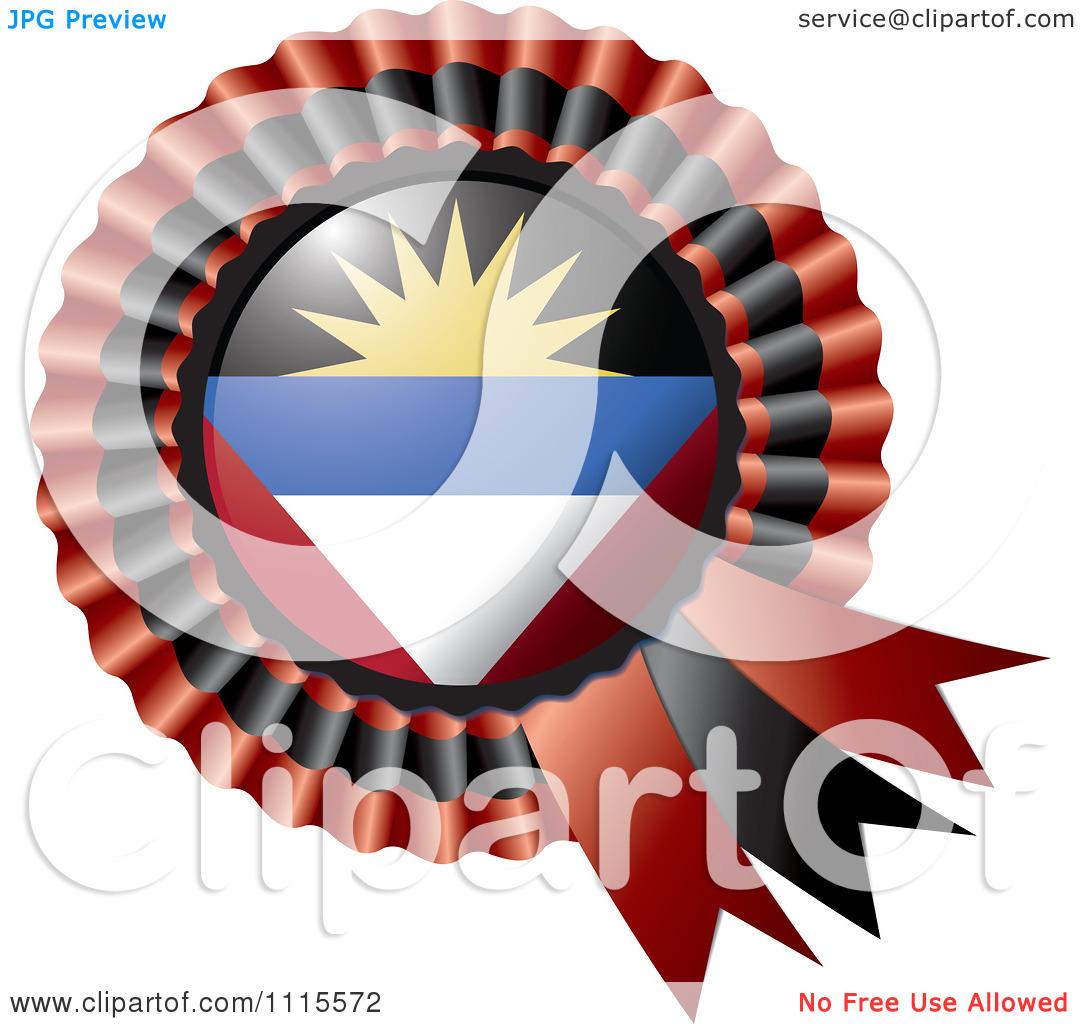 Clipart Shiny Antigua And Barbuda Flag Rosette Bowknots Medal.