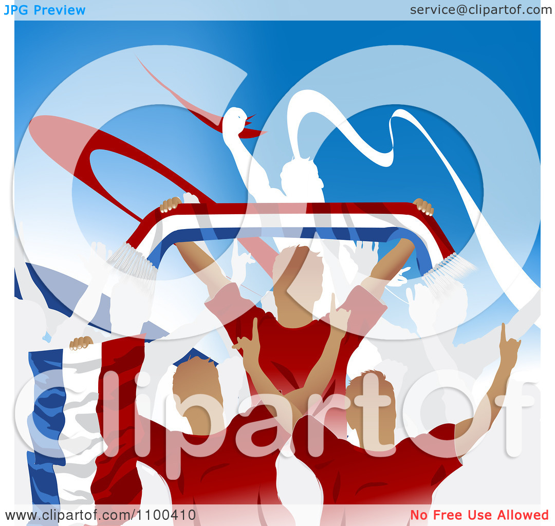 Clipart Crowd Of Cheering Netherlands Antilles Soccer Fans With.