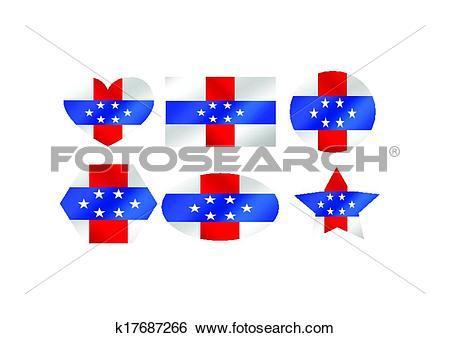 Clip Art of Netherlands Antilles flag themes id k17687266.