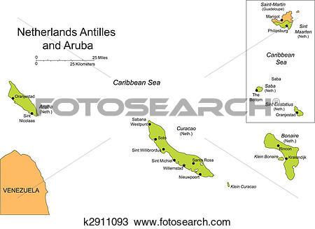 Clipart of Antilles and Aruba, Islands k2911093.
