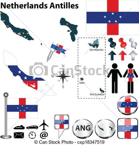 Vector Clip Art of Map of Netherlands Antilles.