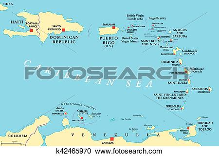 Clipart of Lesser Antilles political map k42465970.