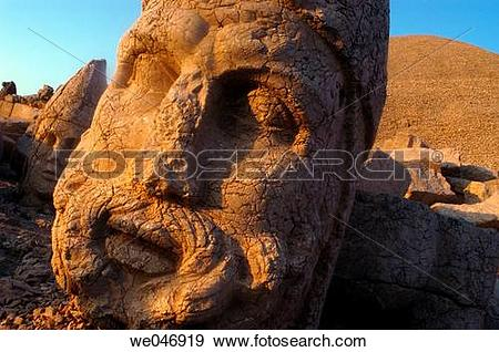 Stock Photograph of Colossal heads of Zeus and Antiochus I at the.
