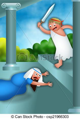 Stock Illustration of Hanukkah and Antiochus the Greek.