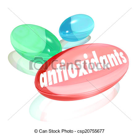 Stock Illustrations of Antioxidants Capsules Pills Nutritional.
