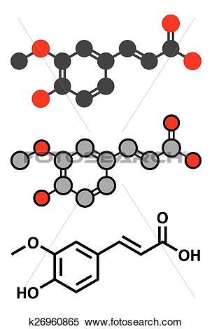 Clipart of Ferulic acid herbal antioxidant molecule. k26960865.