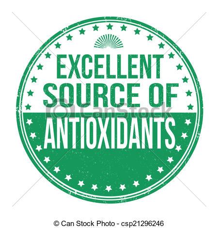 EPS Vector of Excellent source of antioxidants stamp.